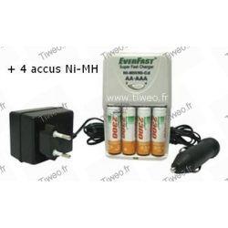 Chargeur d'accus Ni-MH / Ni-CD + 4 accus Ni-MH