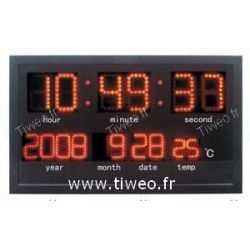 Horloge g ante radio pilot e calendrier temp ratures - Horloge murale avec calendrier ...