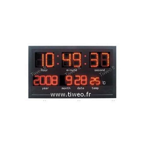 Horloge murale à leds avec température