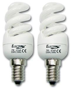 2 lâmpadas mini-helitron 7W E14 (40W)