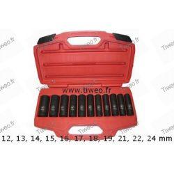 Chave de impacto de quadrado de tempo 1/2 caixa 11 soquetes