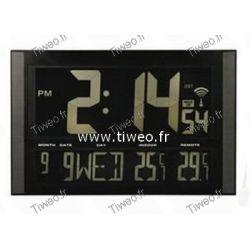 Giant clock radio-controlled + calendar + temperature int-ext