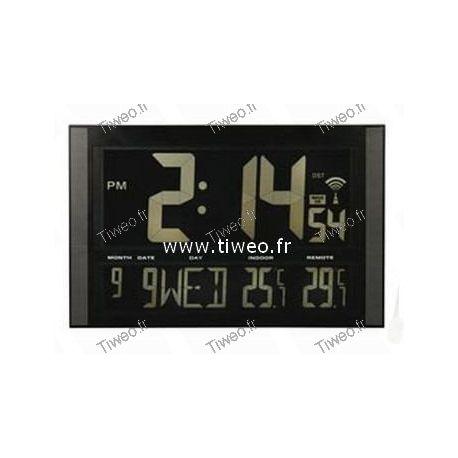 Horloge géante radio-pilotée + calendrier + températures int-ext