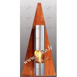 Cheminée Ethanol murale Pyramide couleur Bois