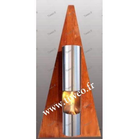 Chemin e ethanol murale type pyramide couleur bois - Cheminee murale ethanol pas cher ...
