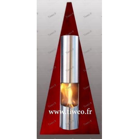 Cheminée Ethanol murale Pyramide couleur rouge