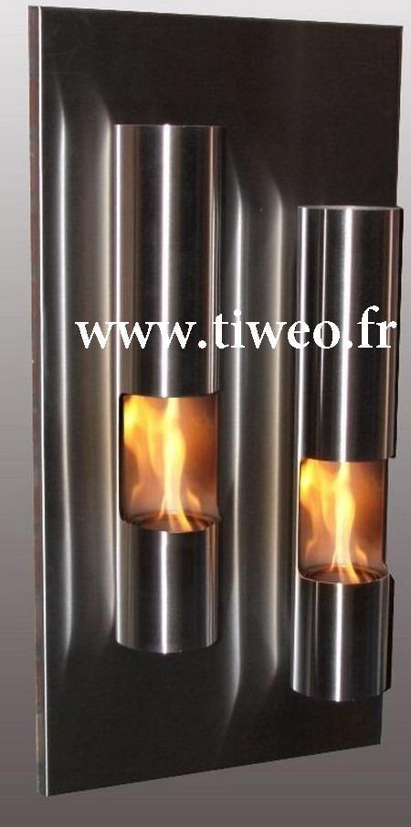 Torre de fogo do etanol lareira parede inox
