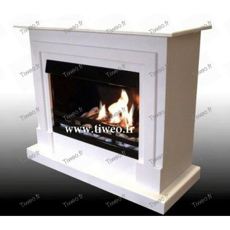 White lacquered ethanol fireplace
