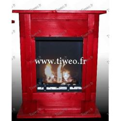 Chimenea de bioetanol de pared empotrable rojo