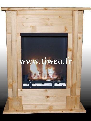 Chimenea de bioetanol de pared empotrable pino natural
