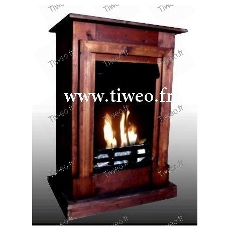 Wall-mounted bio-ethanol fireplace brown color