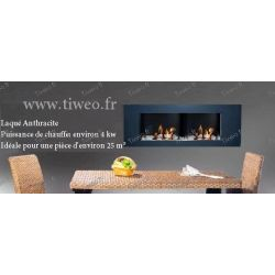 Fireplace ethanol wall 16/9 lacquered Anthracite