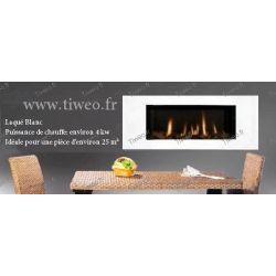 Fireplace ethanol wall 16: 9 aspect ratio high gloss White