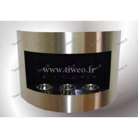 Wall-mounted ethanol fireplace brushed stainless steel