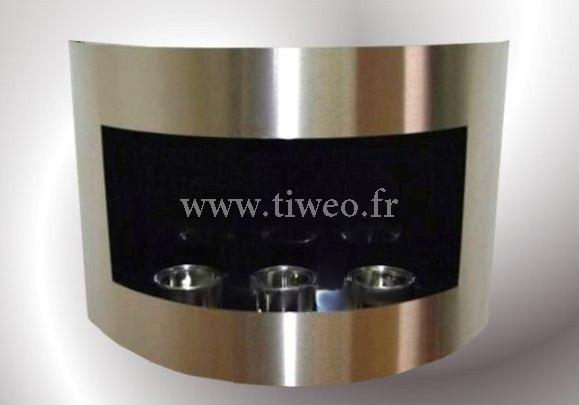 Fireplace ethanol wall mounted brushed stainless