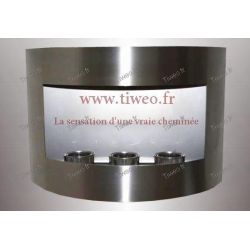 Fireplace ethanol wall stainless steel brushed