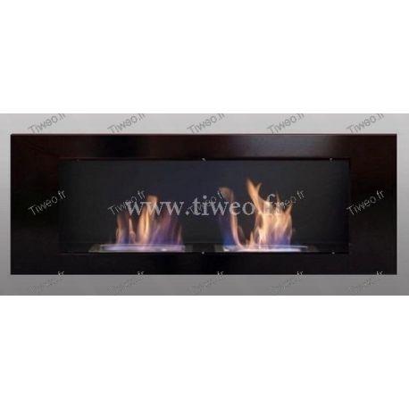 Luxury wall-mounted ethanol fireplace 16/9 black