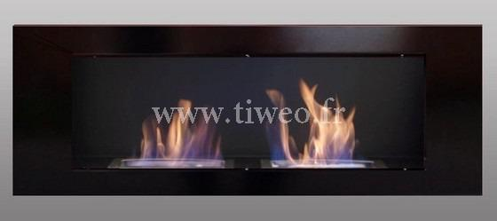 Fireplace ethanol wall 16/9 black Luxury