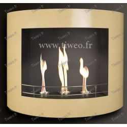 Chimenea de etanol lacado pared beige