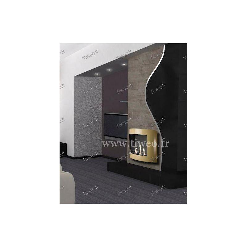 chemin e ethanol fixer au mur beige laqu. Black Bedroom Furniture Sets. Home Design Ideas