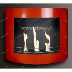 Fireplace ethanol wall red lacquered