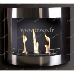 Fireplace ethanol wall stainless steel polished