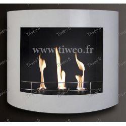 Fireplace ethanol wall white