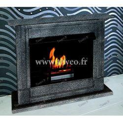 Fireplace ethanol luxury black hammered appearance