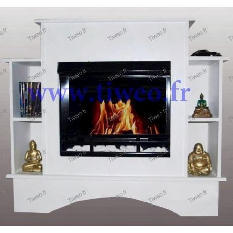 Ethanol fireplace + cabinet + shelves