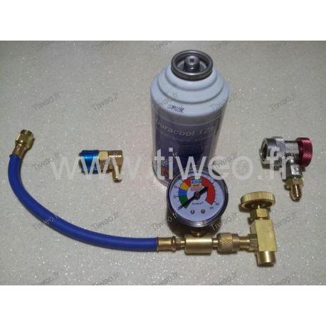 kit de recarga de aire acondicionado a gas con conexión R134a R12