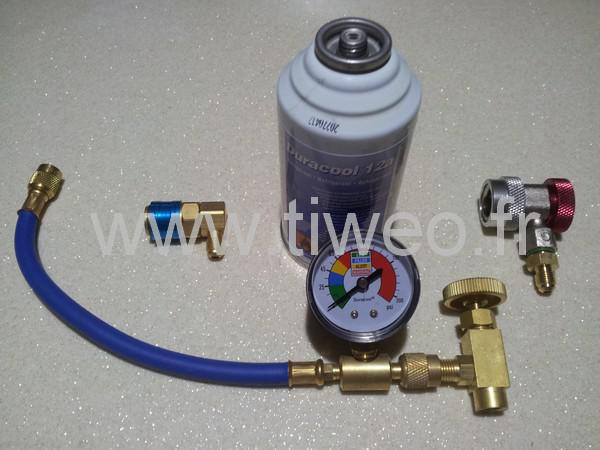 kit recharge air conditioning gas fitting R134a R12