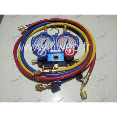2-way manifold in box with sight glass and shut-off valves