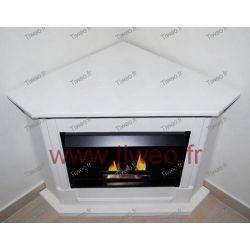 Corner white ethanol fireplace