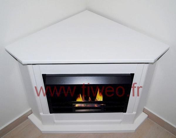 White corner ethanol fireplace