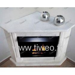 Fireplace ethanol corner granite clear