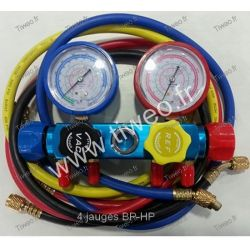 Manifold air conditioning 4 gauges BP-HP