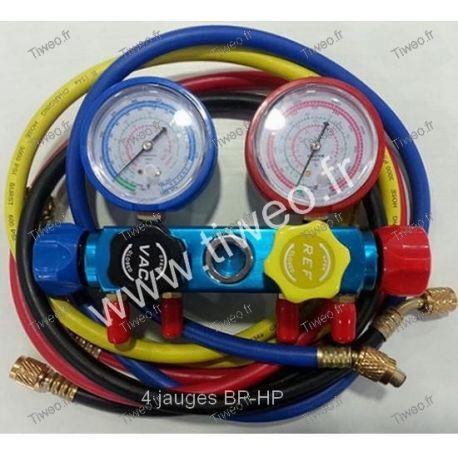 Air conditioning manifold 4 BP-HP gauges