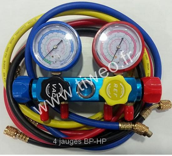 Manifold air conditioning 4 gauges BP-HP