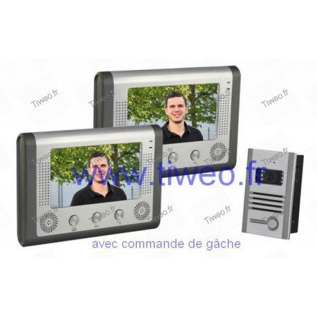 Farbvideotür-Eingangseinheit + 2 Farbbildschirme