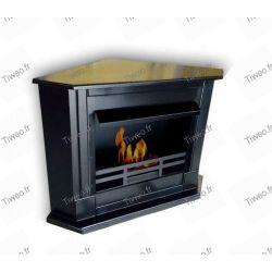 Corner black ethanol fireplace