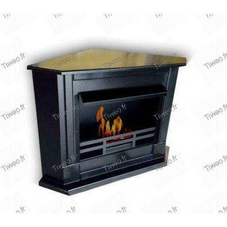 Black corner ethanol fireplace