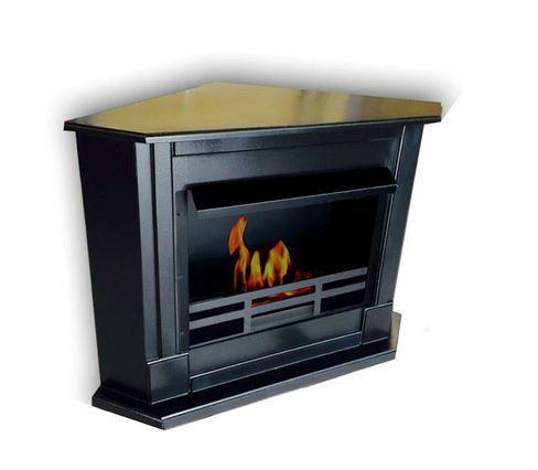 Fireplace ethanol corner black