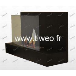 Chimenea de etanol de pared negra con cristal protector
