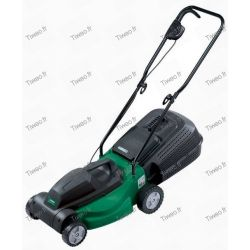 Electric mower with its drip tray