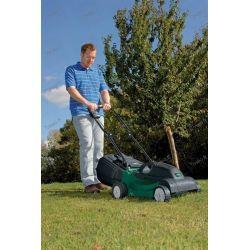 Elektrisk gräsklippare med sin uppsamlingsbricka