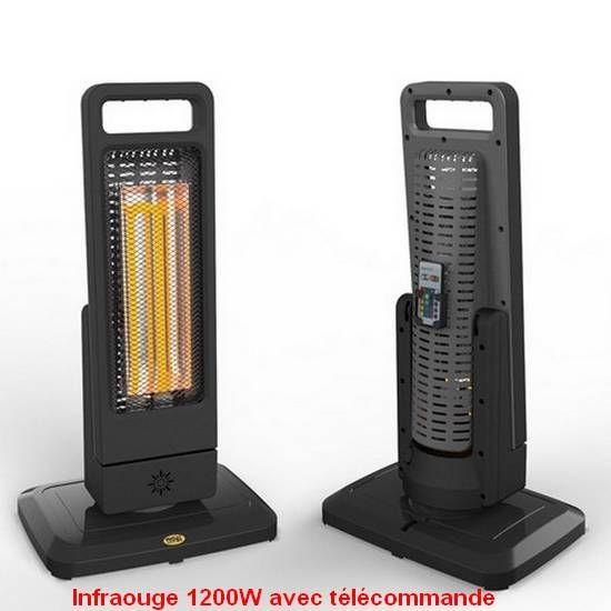 Chauffage d'appoint infrarouge 1200W avec télécommande