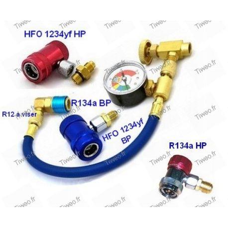 Conexión de aire acondicionado para gas HFO 1234yf, R134a y R12