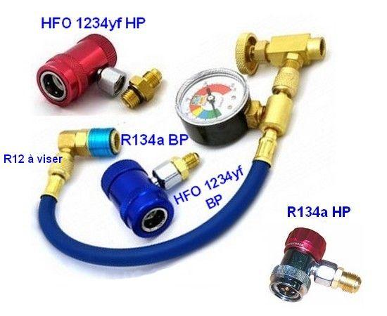 Montaje de aire acondicionado a gas HFO 1234yf, y la R12 R134a