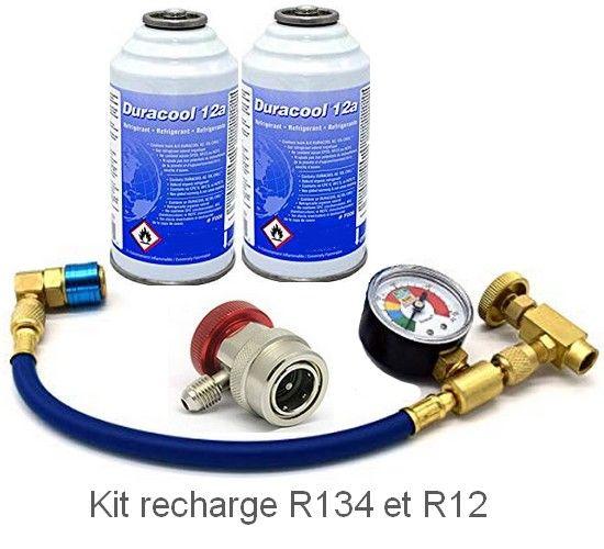 recarga gas aire acondicionado con R12 R134a en el paquete