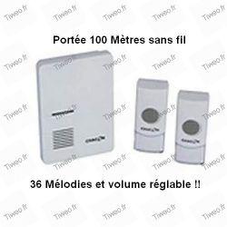 Sonnette sans fil portée 100 m 36 mélodies